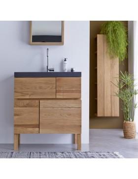 Meuble Salle de bain en chêne et pierre de lave 80 Easy