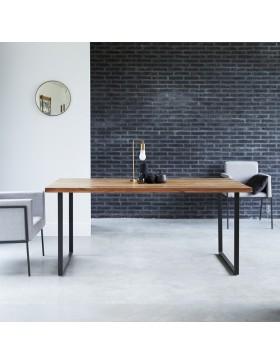 Table en métal et acacia 175x90 Temis