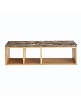 Table basse Eyota en chêne et marbre 131x42