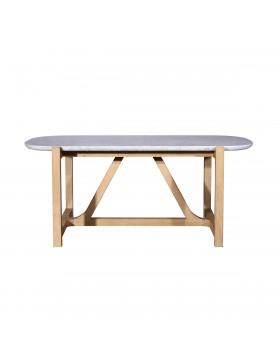 Table Stoneleaf en chêne et marbre 180x95