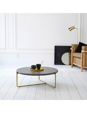 Table basse en métal et terrazzo 80 Anatole grey