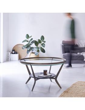 Table basse en marbre et métal 80 Ambre