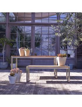 Salon de jardin en teck et inox 150 Arno 6 places
