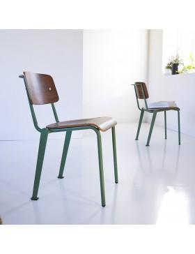 Chaise en métal et noyer Mio lichen