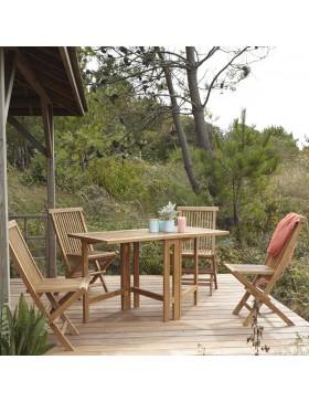 Salon de jardin en teck pliant 130 Capri 4 chaises