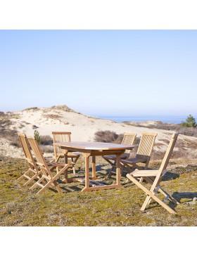 Salon de jardin en teck 180 Capri 6 chaises