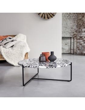 Table basse en métal et pierres 80 Unik