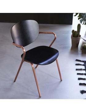 Chaise en métal et chêne Ada copper