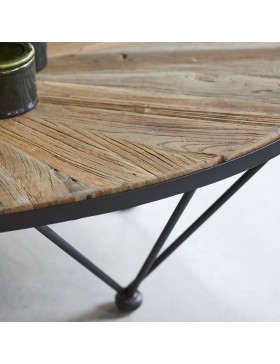 Table basse en métal et orme 140x80 Lancelot