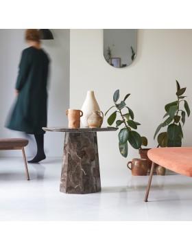 Table d'appoint Keesog en marbre brown 60x35