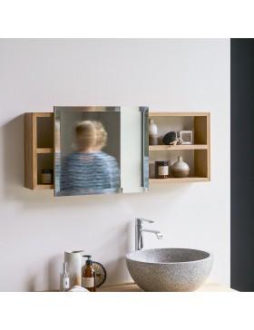 Etagère miroir en teck massif Typo
