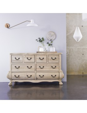 Commode en pin massif 8 tiroirs Eugenie