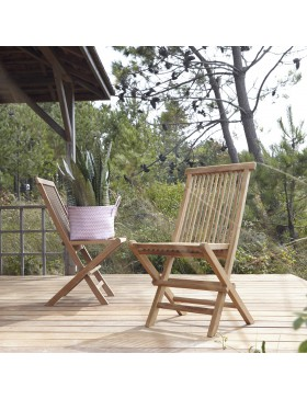 Ensemble de 2 Chaises de jardin en teck massif Capri