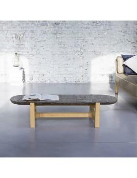 Table basse Stoneleaf en chêne massif et marbre 130x45