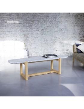 Table basse Stoneleaf en chêne massif et marbre 170x45
