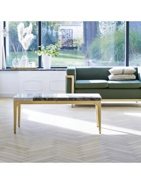 Table basse Stonepiet en chêne massif et marbre 111x48