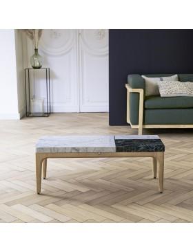 Table basse Stonepiet en chêne massif et marbre 95x40