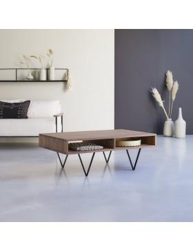 Table basse en noyer massif 115x70 Metric