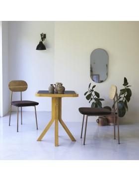 Table Café crème en chêne massif et marbre 70
