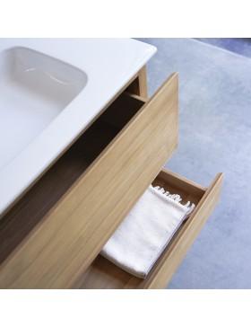 Meuble Salle de bain en teck massif et céramique 80 Edgar