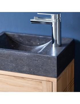 Meuble Lave main en teck massif et marbre Basic black