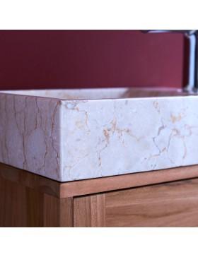 Meuble Lave main en teck massif et marbre Basic cream