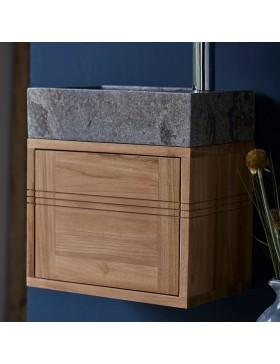 Meuble Lave main en teck massif et marbre Basic grey