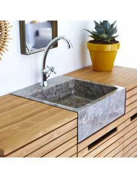 Meuble Salle de bain en teck massif et marbre 125 Slats