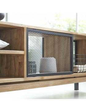 Meuble TV en teck massif et métal 170 Color Bebop black