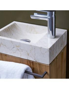 Meuble Lave main en teck massif et marbre Stelle cream