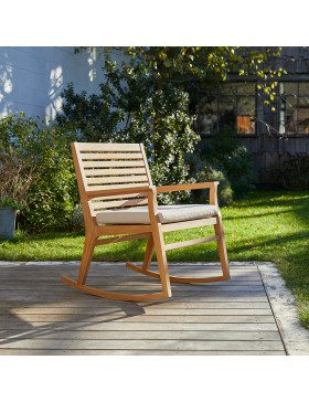Rocking chair de jardin en teck massif Leni
