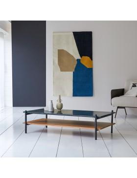 Table basse en acacia massif et marbre 130x65 Edit