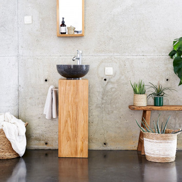 Meuble Salle de bain en teck massif 30 Stelle gauche