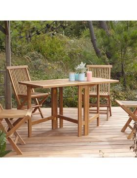 Table de jardin pliable en teck massif 130 Capri
