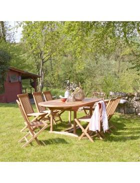 Salon de jardin ovale en teck massif 180 Capri 8 chaises