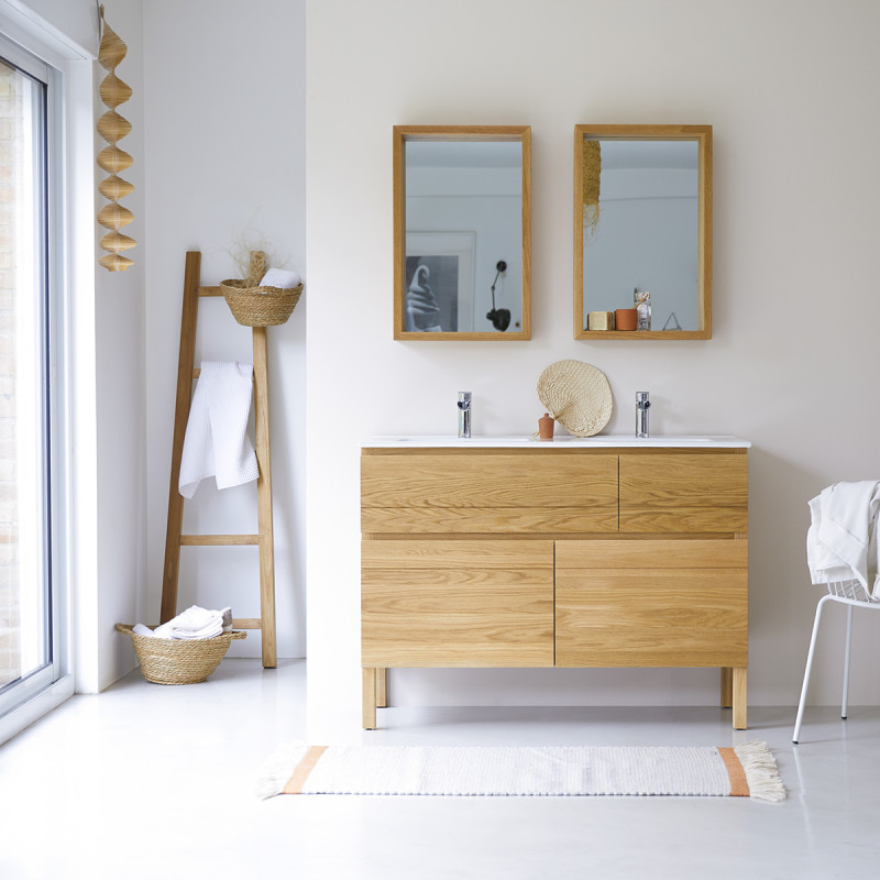 Meuble Salle de bain en chêne massif et céramique 120 Easy
