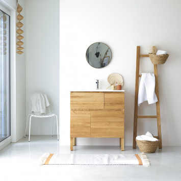 Meuble Salle de bain en chêne massif et céramique 80 Easy