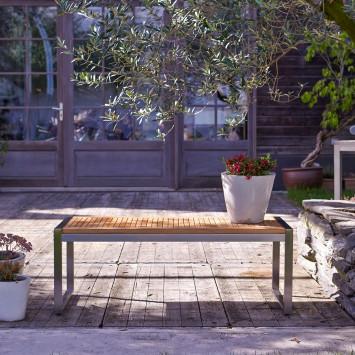 Banc de jardin en teck massif et inox Arno
