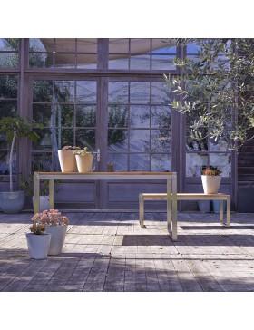 Table de jardin en teck massif et inox 150 Arno