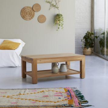 Table basse rectangulaire en teck massif Eve