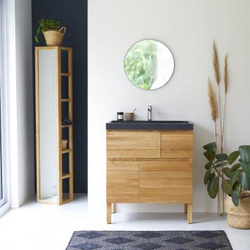 Meuble Salle de bain en chêne massif et pierre de lave 80 Easy