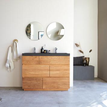 Meuble Salle de bain en chêne massif et pierre de lave 120 Karl