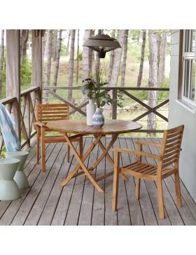 Salon de jardin rond en teck massif 120 Andria 2 fauteuils