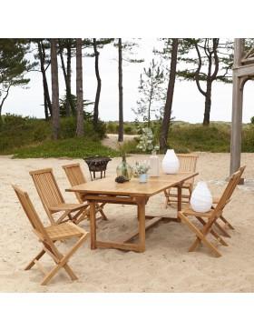 Salon de jardin rectangulaire en teck massif 200 Capri 6 chaises