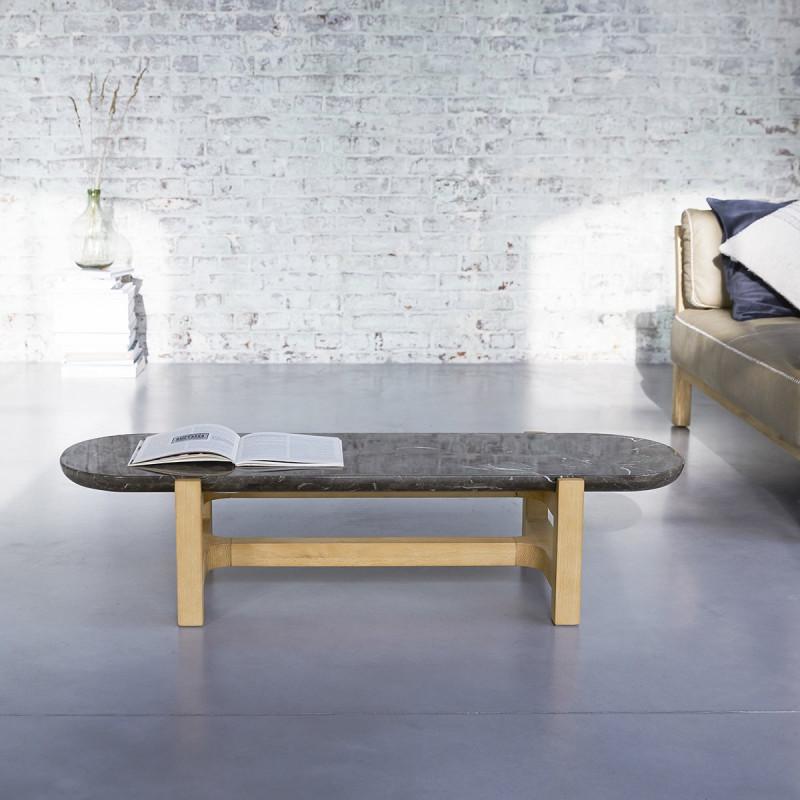 Table basse Stoneleaf en chêne massif et marbre 130x45 cm
