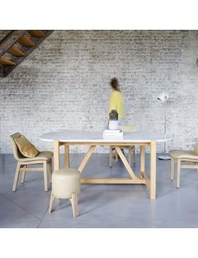 Table Stoneleaf en chêne massif et marbre 180x95