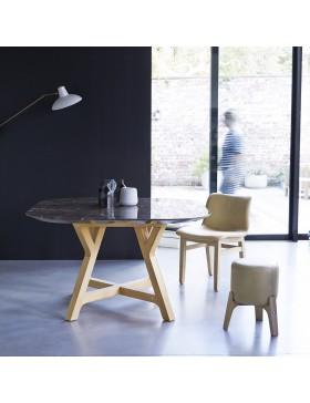 Table Stoneleaf en chêne massif et marbre 130