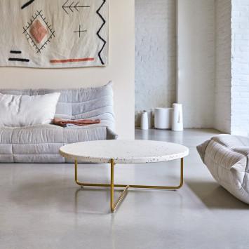 Table basse en terrazzo et métal Anatole confetti