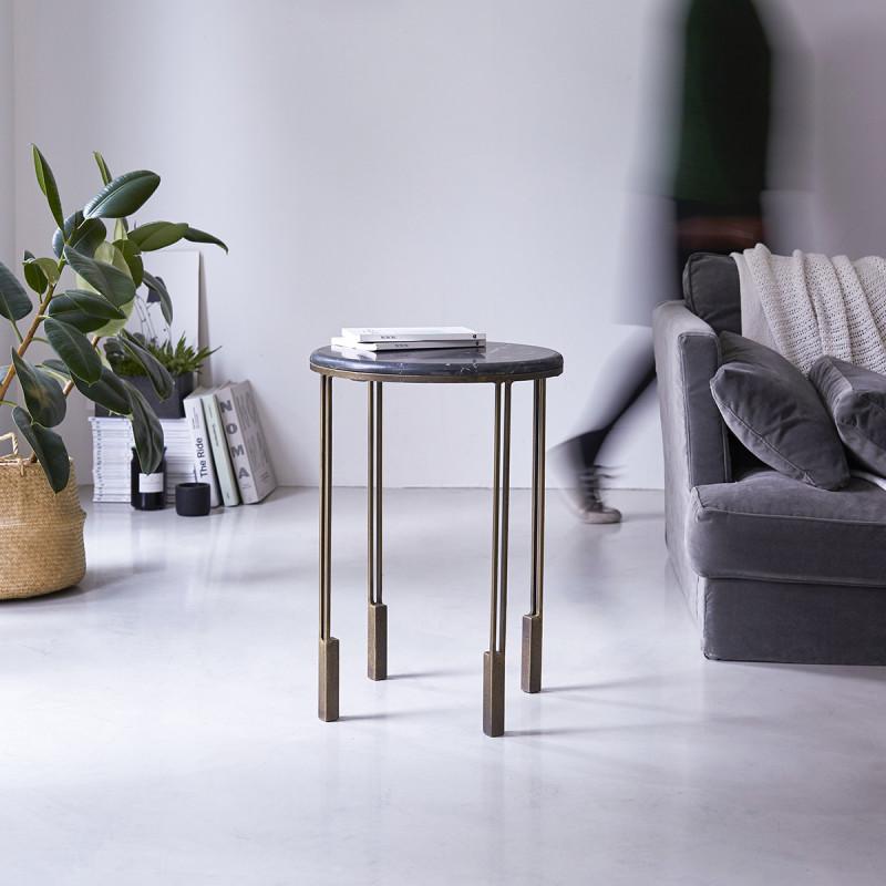 Bout de canapé en métal et marbre Simëon
