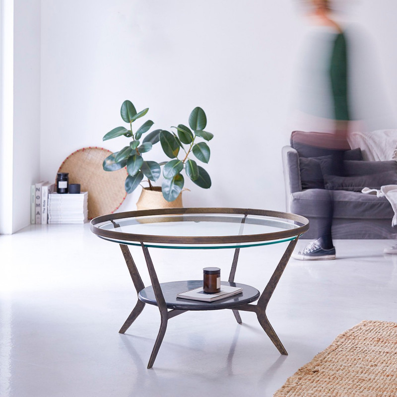 Table basse en marbre et métal Ambre